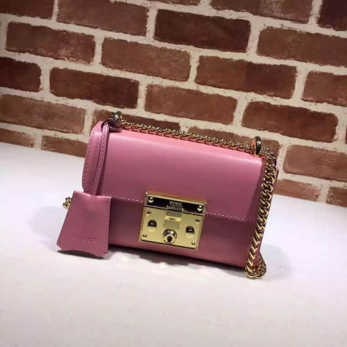 GG Chain Crossbody 409487 Pink Red Leather Women Shoulder Bags