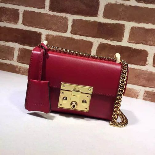 GG 15NEW Small Chain 409487 Red Leather Women Shoulder Bags