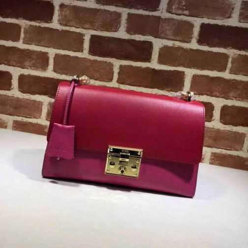 GG 409486 Red Rose Leather 15FWPADLOCK GG MM Chain Women Shoulder Bags