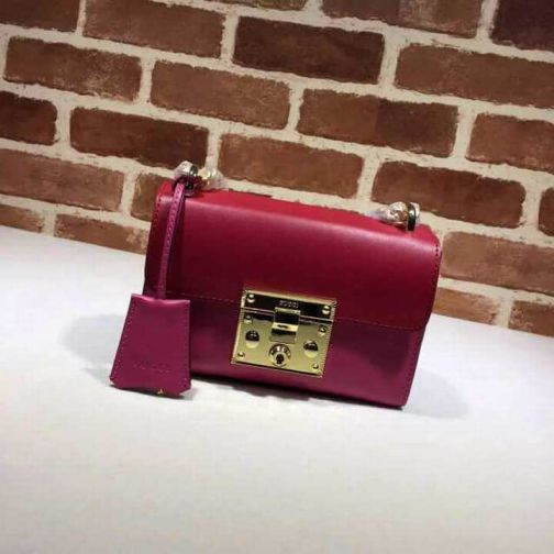 GG PADLOCK GG PM 409487 Red Rose Leather Chain Women Shoulder Bags