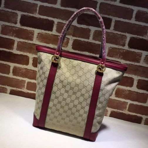 GG Bronze 342591 Wine Red Women Shopping Bags