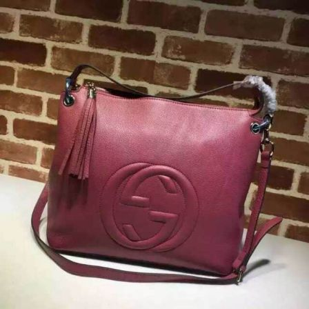 GG Leather 15FW soho Large 408825 Rose Red Women Shoulder Bags