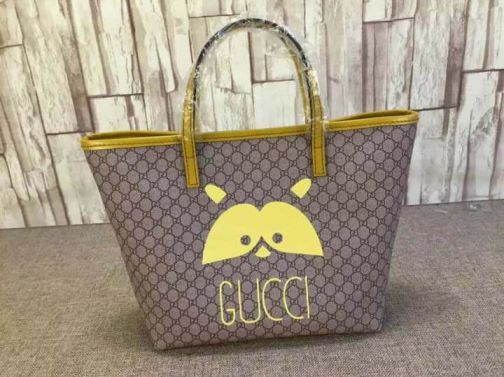 GG 2015 mini Shopper 388711 Yellow Women Shopping Bags