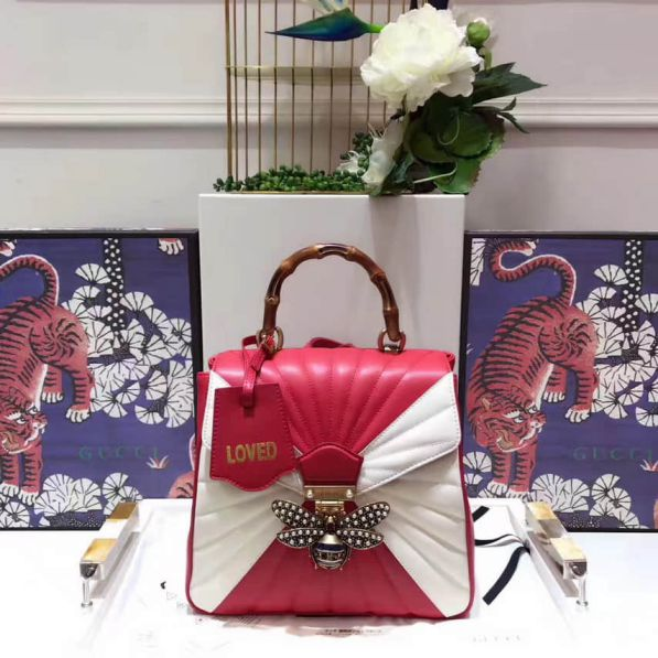 GG 476664 Red Match White Women Backpack Bags