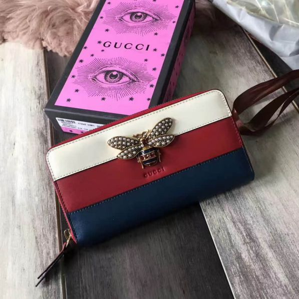GG Red White Blue Bee Long 476069 DYWPT 4160 Women Wallets