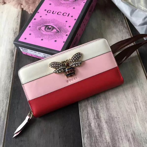 GG White Pink Red Bee Long 476069 Women Wallets