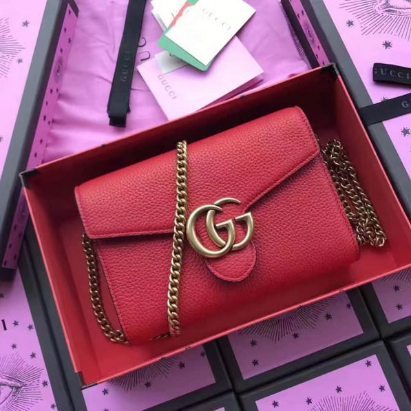 GG Marmont Red Leather Chain 401232 Women Shoulder Bags