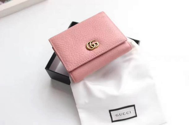 GG Marmont Pink Tri-fold Short 474746 Women Wallets