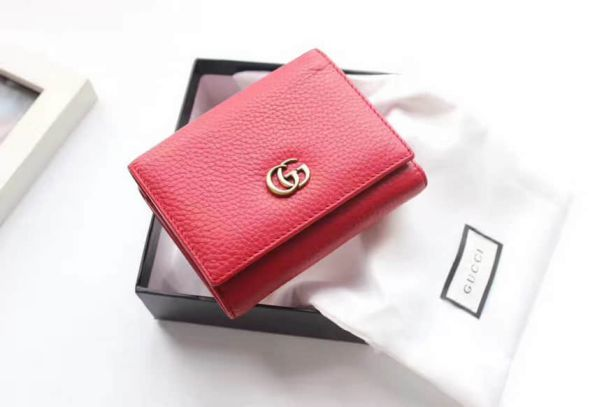 GG Marmont Red Leather Tri-fold Short 474746 Women Wallets