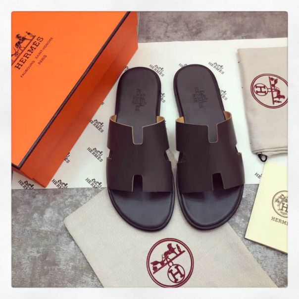 Hermes Classic Leather H Men Slippers