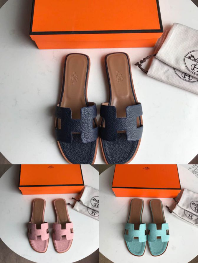 Hermes 2018 togo Leather Women Slippers