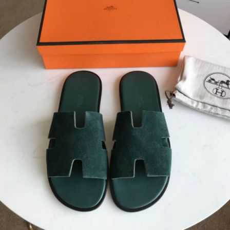 Hermes 2018 Leather Men Slippers