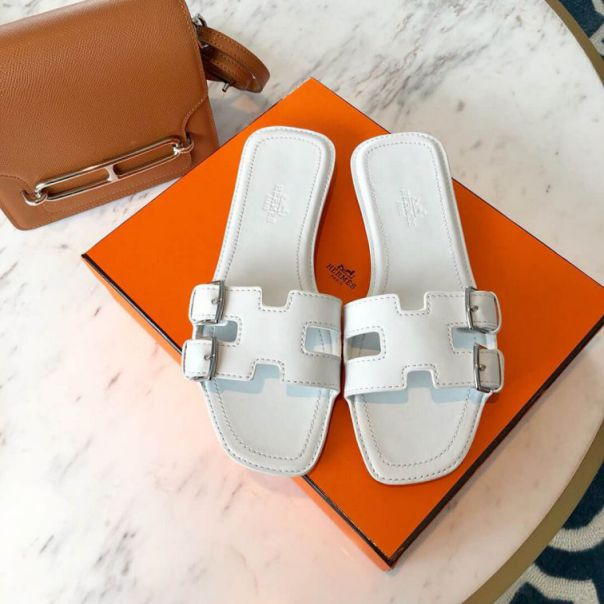 Hermes On my way Leather Women Slippers
