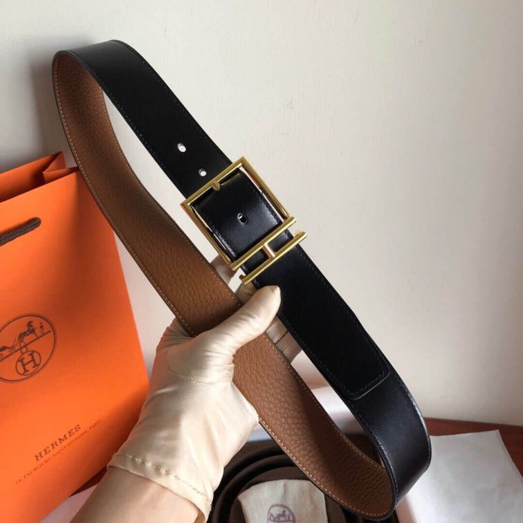 Hermes Leather 40mm Nathan Reversible Men Belts