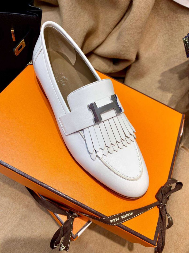 Hermes Leather Lofers tassel Flat Women Shoes