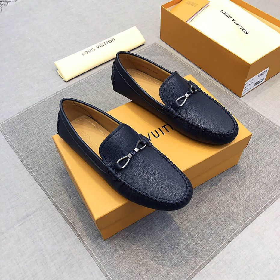 2019 LV Leather Apricot Men Loafers