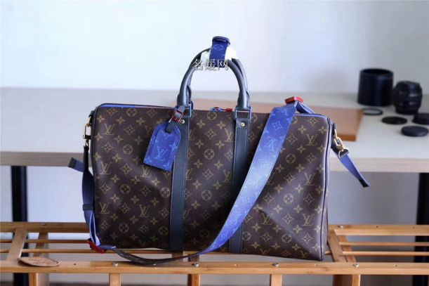 LV 2018ss Blue Shoulder Strap KEEPALL 45 M43856 Monogram Travel Bags