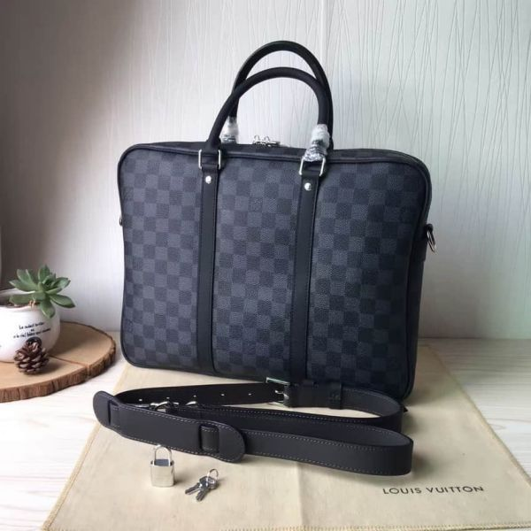 LV N41466 Men Black Small PORTE-DOCUMENTS VOYAGE Briefcases