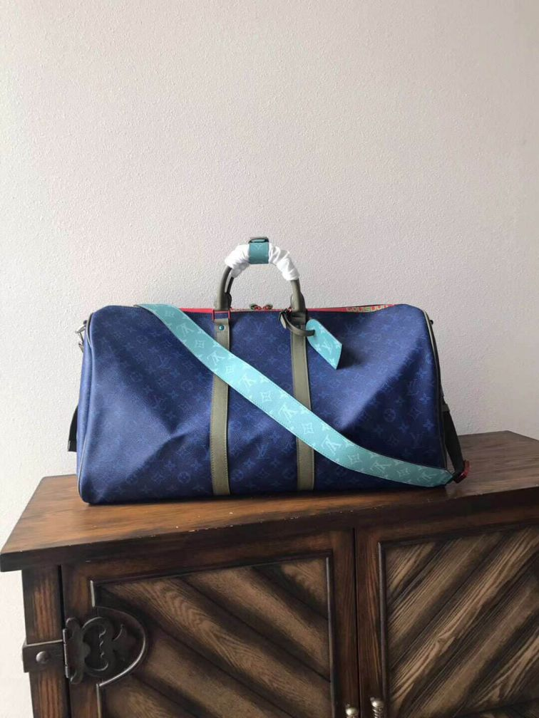 LV Blue Keepall 55 Travel Bags