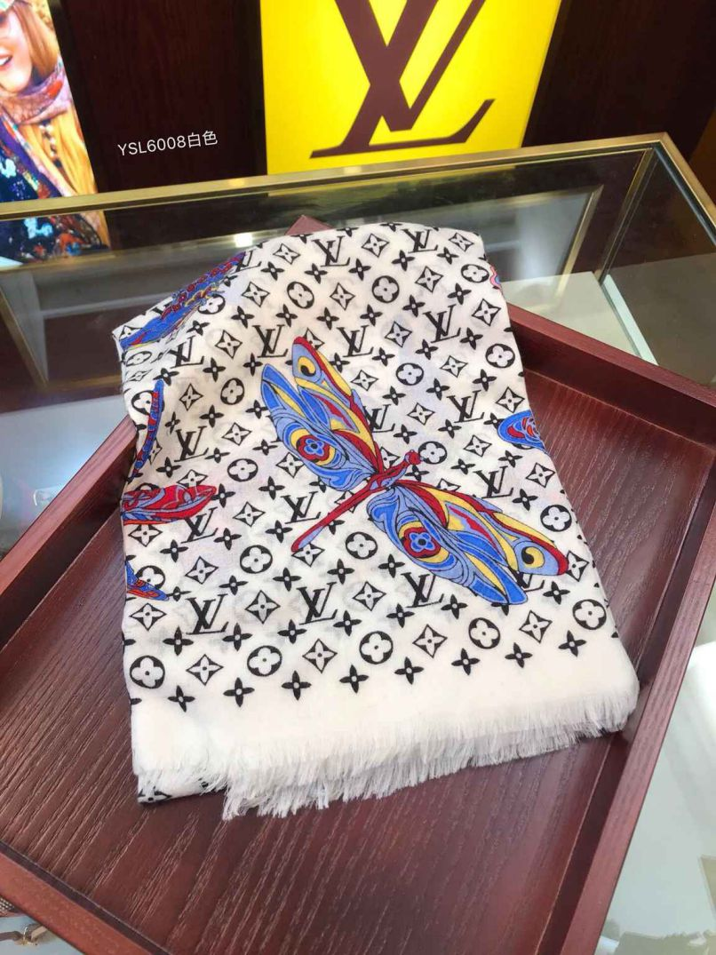 LV Butterfly Pure Cashmere Women Scarves