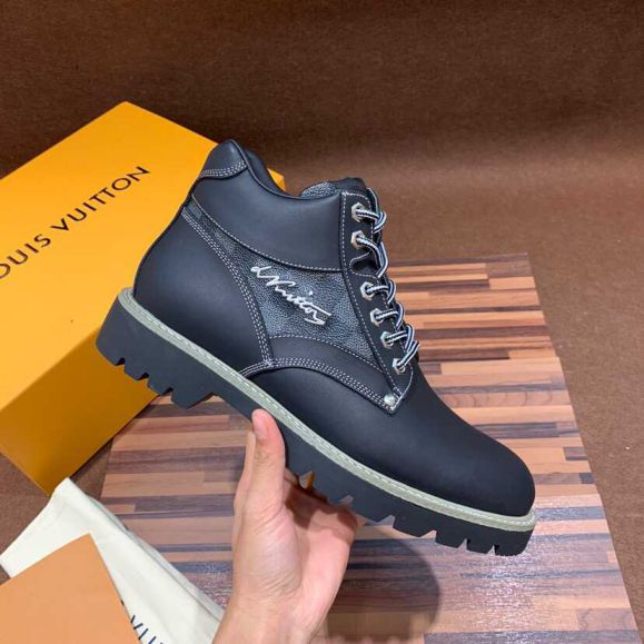 LV Black Men Leather Shoes