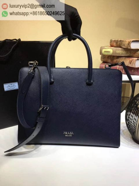 PRADA 2017 Blue Leather Briefcases 2VN006 Men Briefcases
