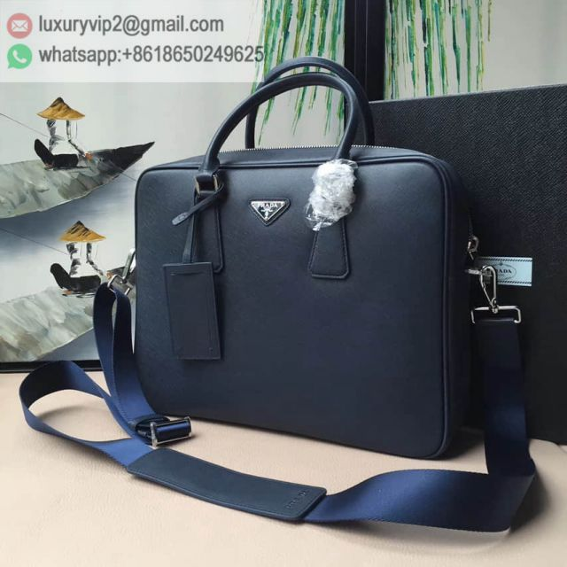PRADA 0891 Blue 175# Leather Briefcases Men Briefcases