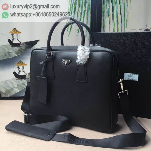PRADA 0891 Black 175# Leather Briefcases Men Briefcases
