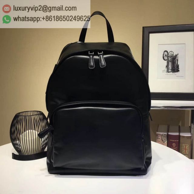 PRADA Black Leather Men Backpack Bags