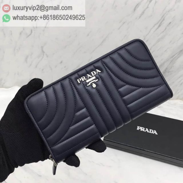 PRADA 16 Zip 1ML506 Blue Women Wallets