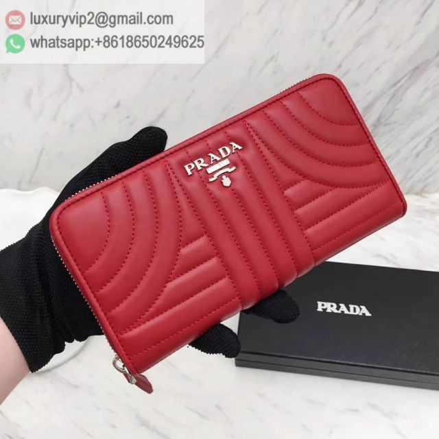 PRADA 16 Zip 1ML506 Red Women Wallets