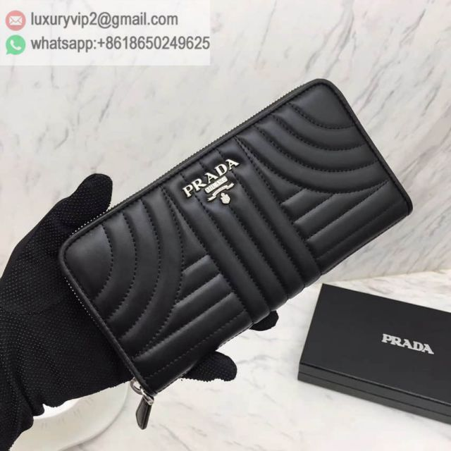 PRADA 16 Zip 1ML506 Black Women Wallets