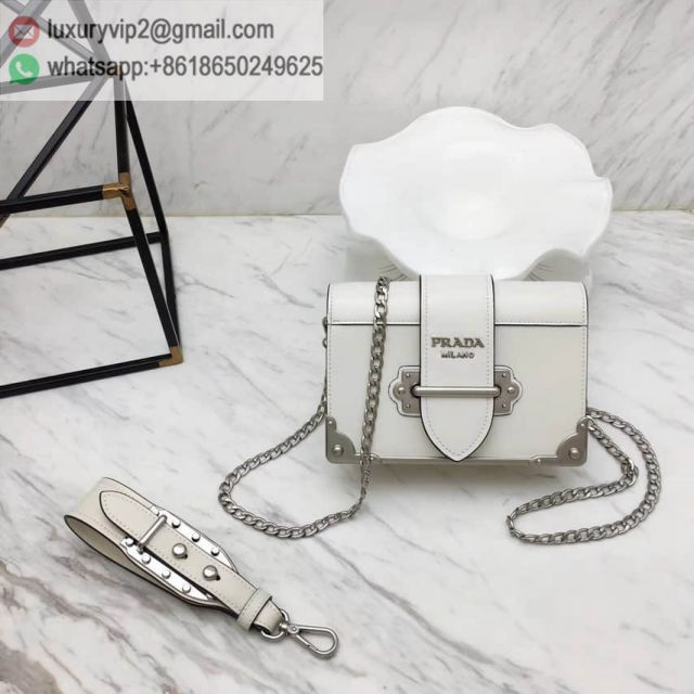 PRADA 2018 Cahier 1BH018 White Women Shoulder Bags