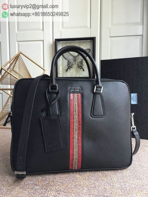 PRADA Crocodile Saffiano Briefcases 2VE368_2BOL_F034C_V_OWR Men Briefcases