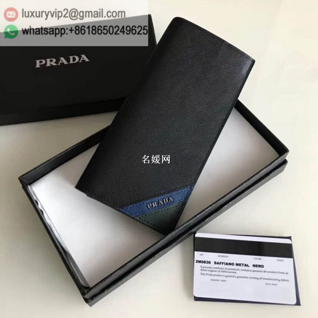 PRADA Blue Green Mixed 2M0836 Men Wallets
