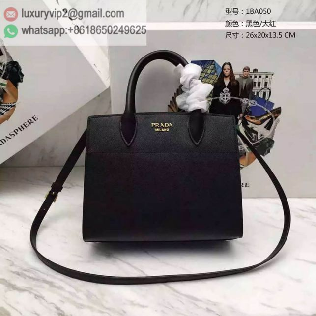 PRADA 2016 1BA050PRADA biblioteque bag Black Red Women Tote Bags