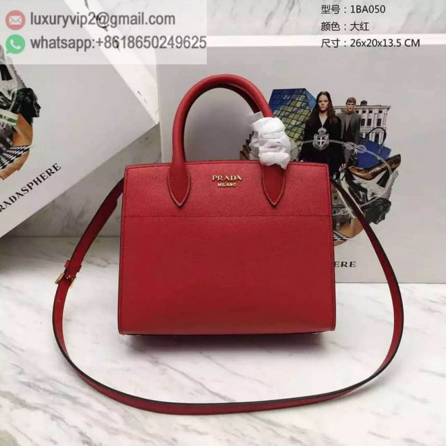 PRADA 2016 1BA050PRADA biblioteque bag Red Women Tote Bags
