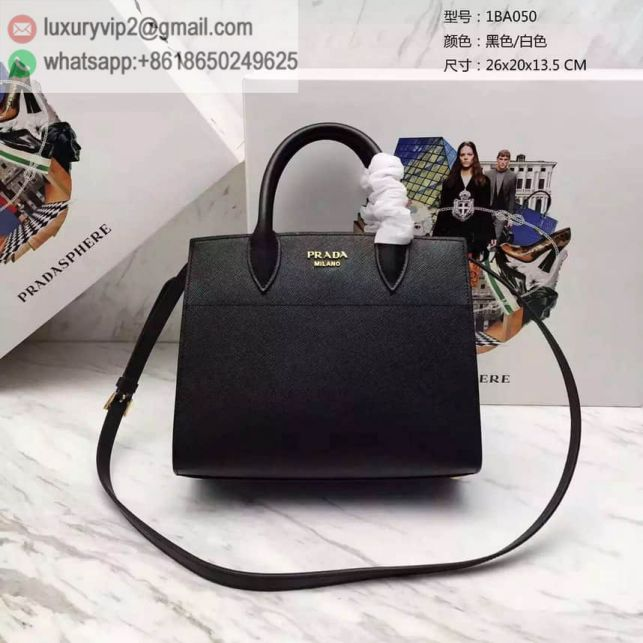 PRADA 2016 1BA050PRADA biblioteque bag Black White Women Tote Bags