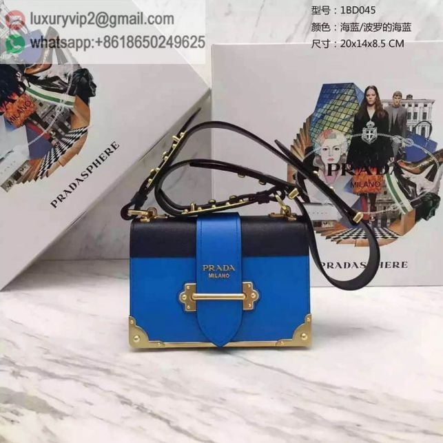 PRADA 16 cahier Blue Leather Crossbody 1BD045 Women Shoulder Bags