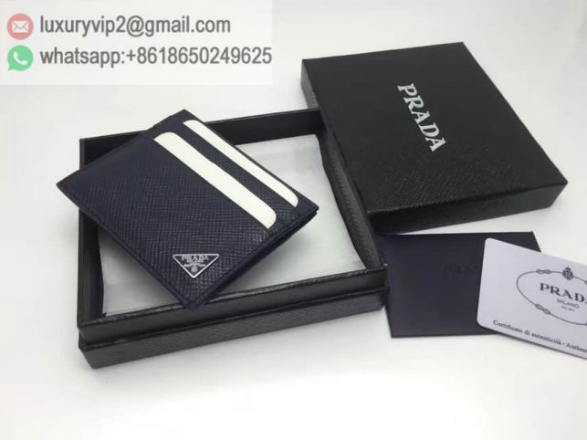 PRADA Leather Card Bags 2MC223 Navy Men Wallets