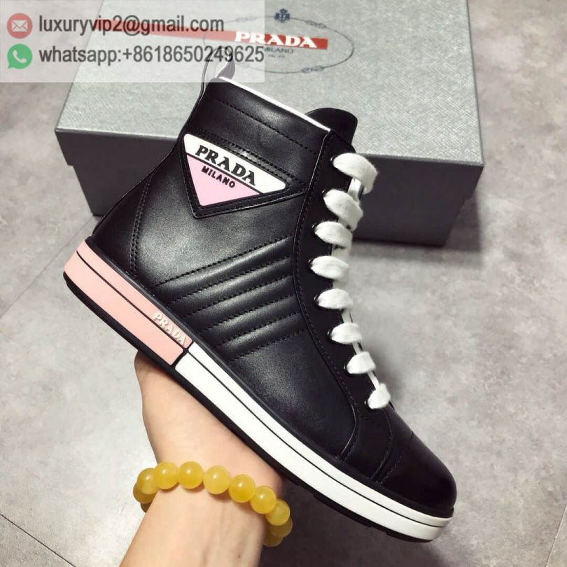 PRADA 2018 Causal Leather High Sneakers 1T348I_3G4I_F0 Women Shoes