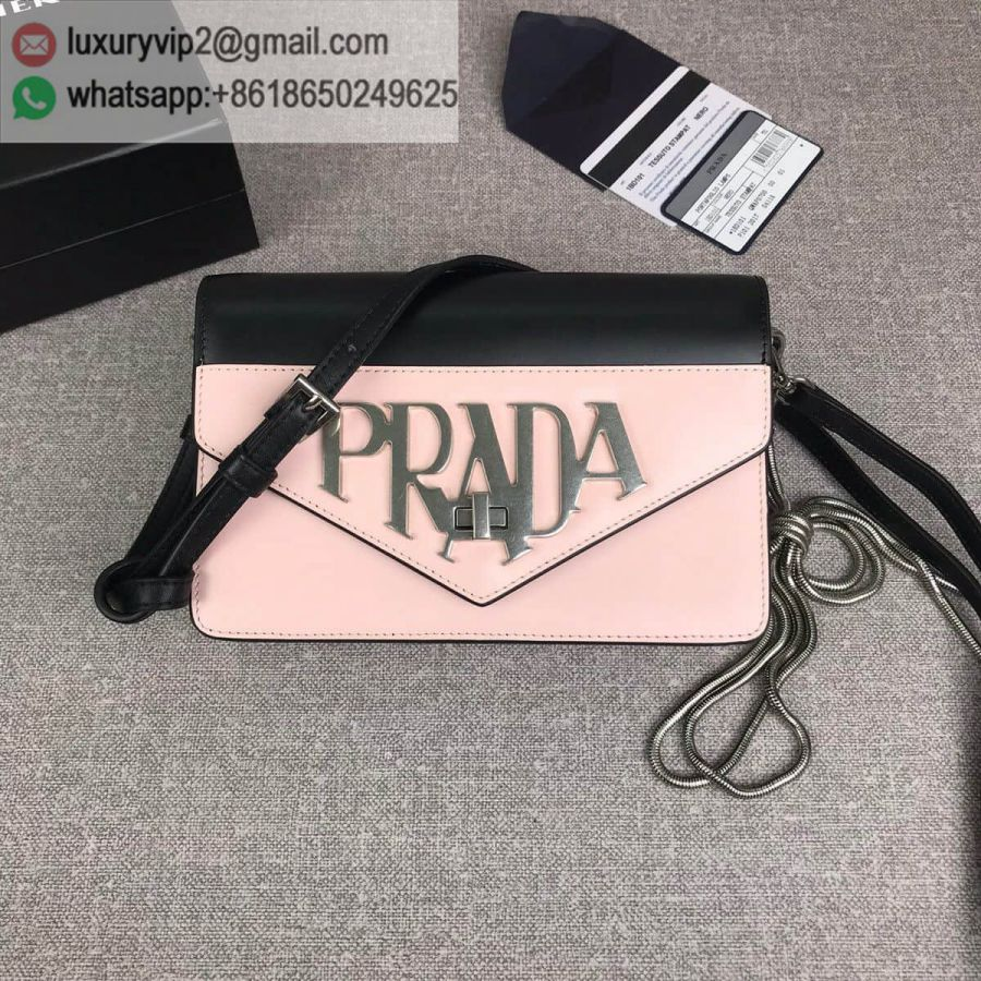 PRADA logo Crossbody 1BD101 Black Pink Women Shoulder Bags