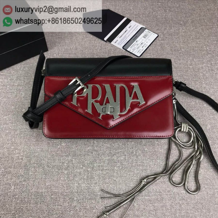 PRADA logo Crossbody 1BD101 Black Red Women Shoulder Bags