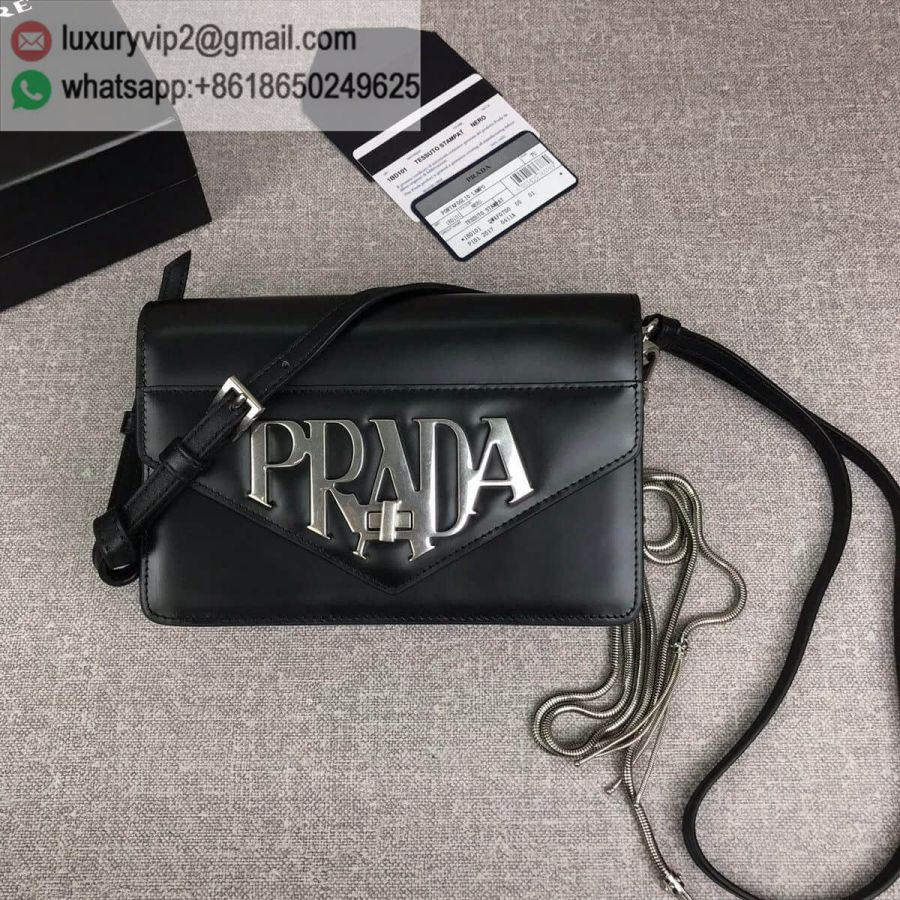 PRADA logo Crossbody 1BD101 Black Women Shoulder Bags