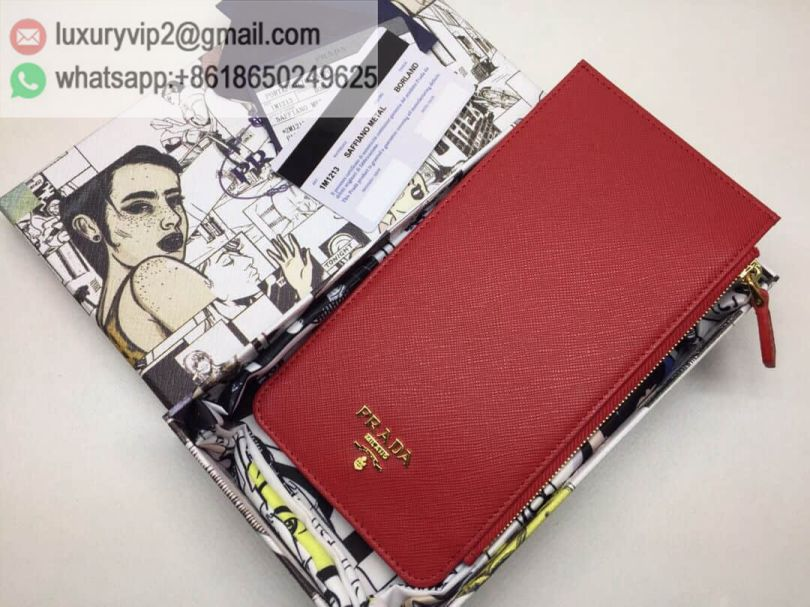 PRADA 1M1213 28 Leather Card Bags Women Card Holder
