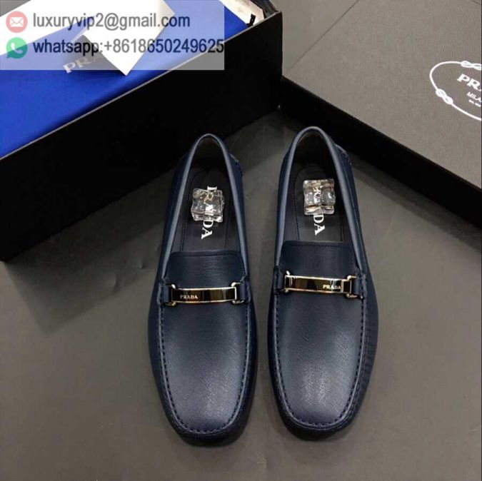 PRADA Blue Leather logo Men Shoes