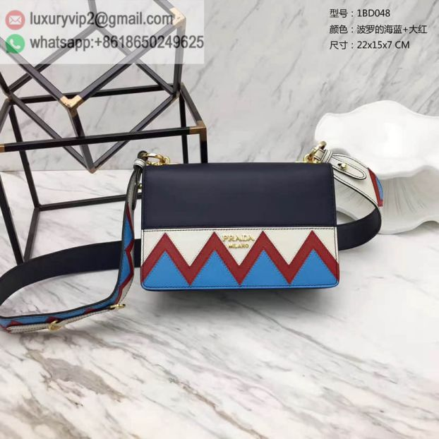 PRADA 2017 Mixed Leather Flap 1BD048 Blue Women Shoulder Bags