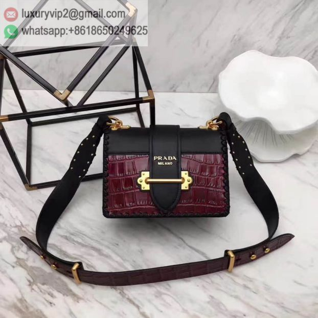 2017 PRADA Red Black Leather 1BD045 Women Shoulder Bags