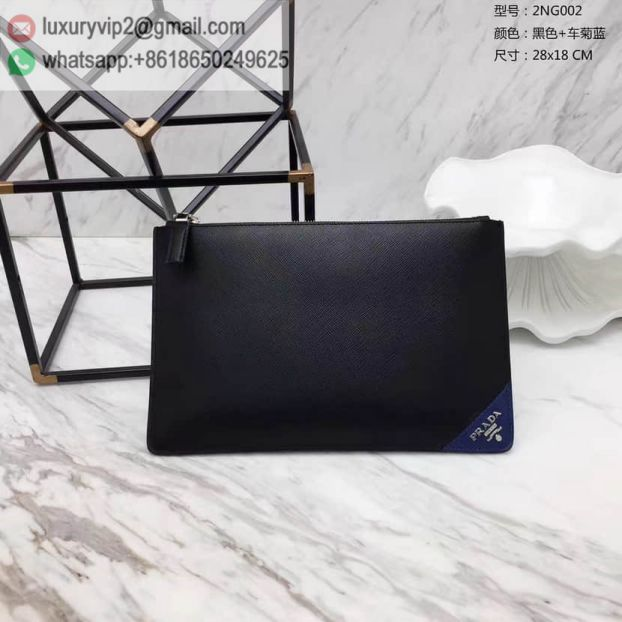 2017 PRADA Blue Limited Edition 2NG002 Men Clutch Bags