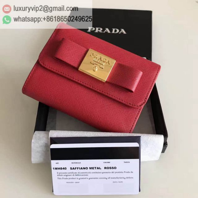 PRADA Red Leather Short 1MH840 Women Wallets